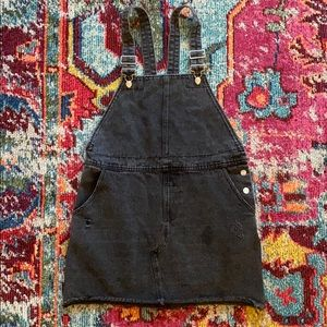 Lulus Aria Washed Black Denim Overall Skirt